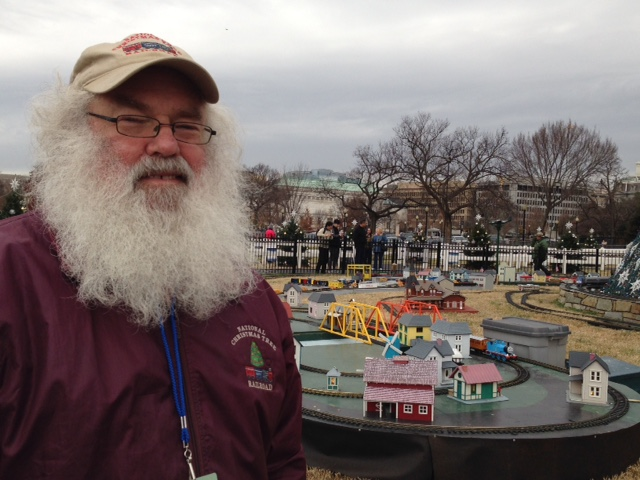 Santa with his toy trains at the National Christmas Tree, south of the White House. (Photo: Diana Parsell)