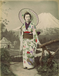 Woman in kimono with Mt. Fuji backdrop