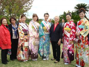Diana Parsell with Cherry Blossom Princesses in Tokyo, March 2013